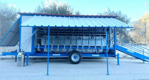New milking wagon for sheep with 12 milking points